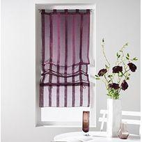 Douceur D'INTERIEUR - Un store droit à passant - rideau voile sable raye malta prune 45 x 180 cm