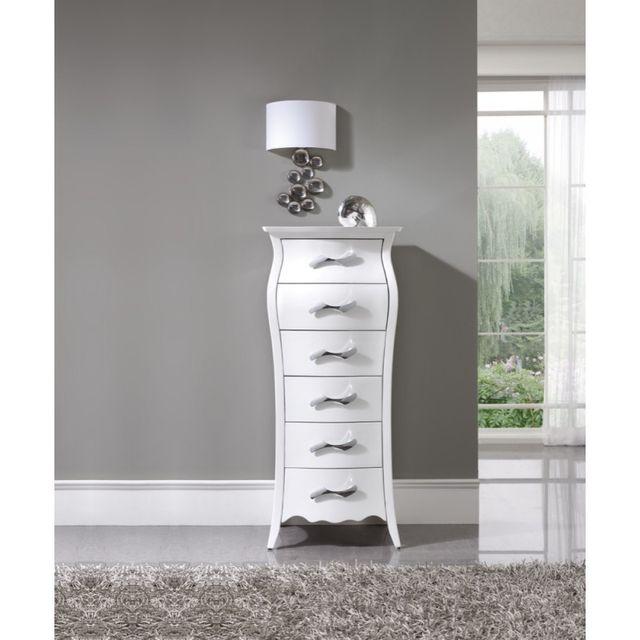 Ma Maison Mes Tendances Chiffonnier 6 tiroirs en bois laqué satiné blanc Calliope - L 55 x l 46 x H 128