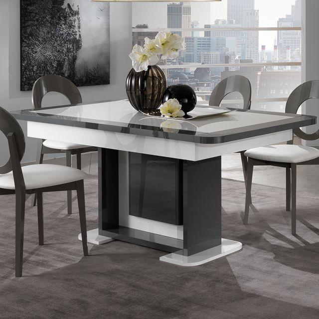 Nouvomeuble Table extensible design blanc et gris laqué Laurene