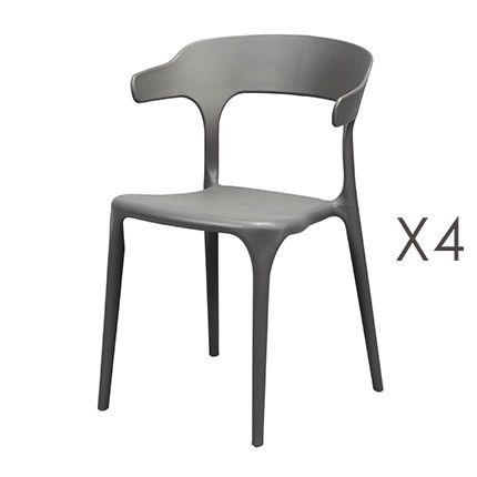 Lot de 4 chaises en Pvc gris