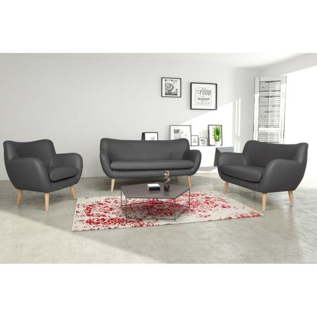 Rocambolesk Canapé Adele 3+2+1 Pu soft 29 gris avec pieds naturels sofa divan