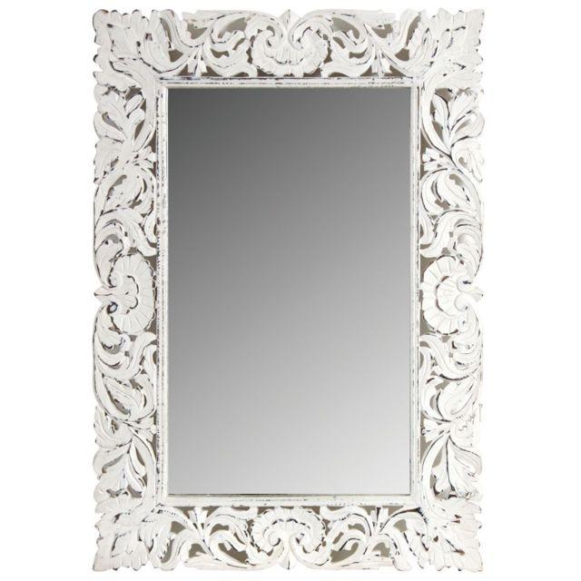 AUBRY GASPARD Miroir en manguier patiné blanc