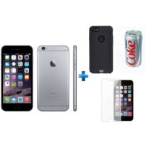 APPLE - iPhone 6 - 16 Go - Gris Sidéral - Reconditionné + Verre trempe iPhone 6/6s/7/8 - Transparent + iPhone 6/6s Perf metal case - Noir + Batterie de secours Coca-Cola Light 7200 mAh