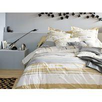 Francois Hans - Parure housse de couette + taies 100% coton rayure abstraite peinture gris/blanc Opale - 140x200cm