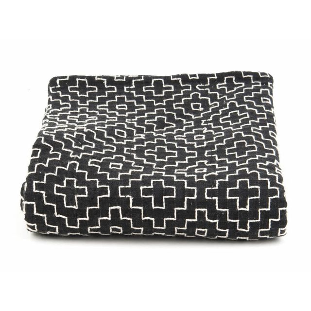 Present Time Plaid 100% coton motif croix ikat 150x180cm Comfy - Noir/blanc