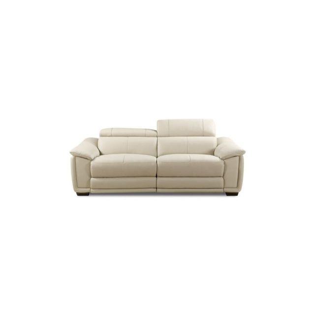 Sans Marque Helvetica Canape De Relaxation Droit Fixe Cuir Et Simili Pu 3 Places - Gris - Contemporain - L 220 X P 102 Cm