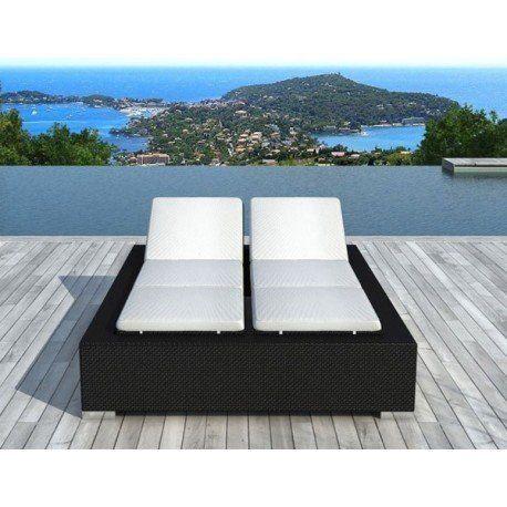 delorm bain de soleil double en r sine tress e noire et structure aluminium l 220 x l 168 x. Black Bedroom Furniture Sets. Home Design Ideas