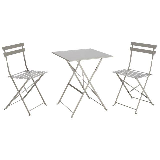 Table Bistrot carrée pliante - Taupe + 2 Chaise bistrot pliante - Gris