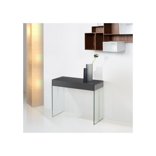Giovanni Console Extensible New York laqué Gris Anthracite