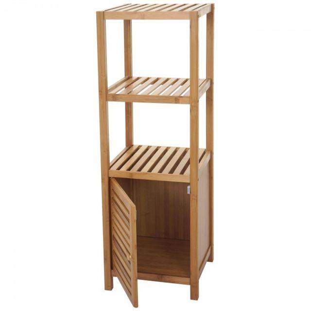 Decoshop26   Etagère Armoire Meuble Pour Salle De Bain En Bambou 110x36x34  Cm Sdb04023