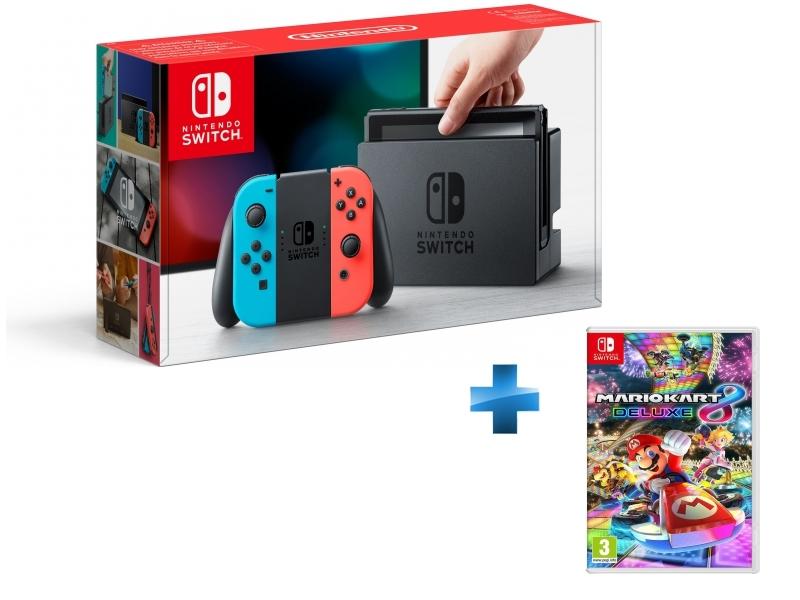 Console Switch avec un Joy-Con rouge néon et un Joy-Con bleu néon + Mario Kart 8 Deluxe