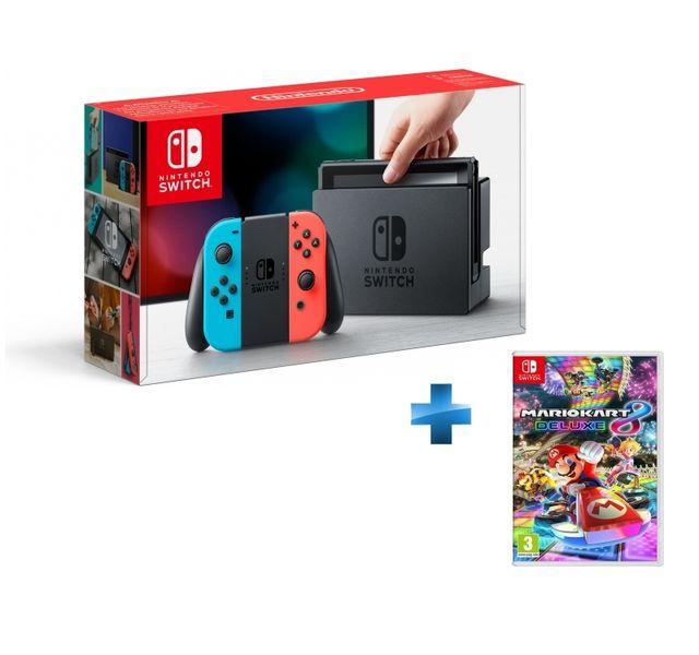 NINTENDO - Console Switch avec un Joy-Con rouge néon et un Joy-Con bleu néon + Mario Kart 8 Deluxe