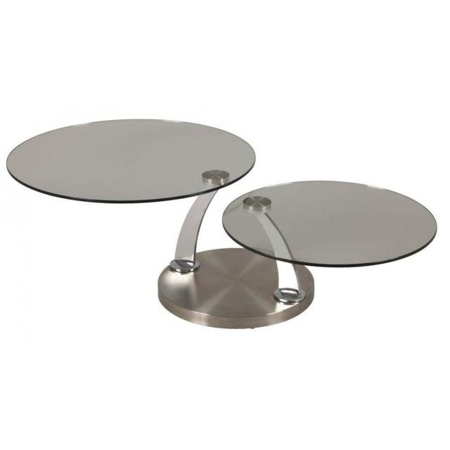 Inside 75 Table à Plateaux Pivotants Steel En Verre piétement acier brossé