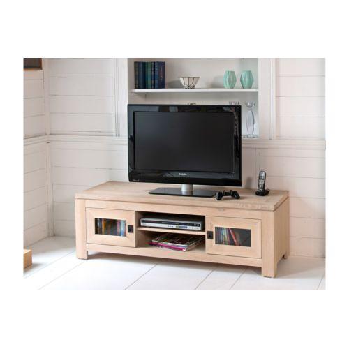 hellin meuble tv bas en ch ne blanchi boston pas cher achat vente meubles tv hi fi. Black Bedroom Furniture Sets. Home Design Ideas