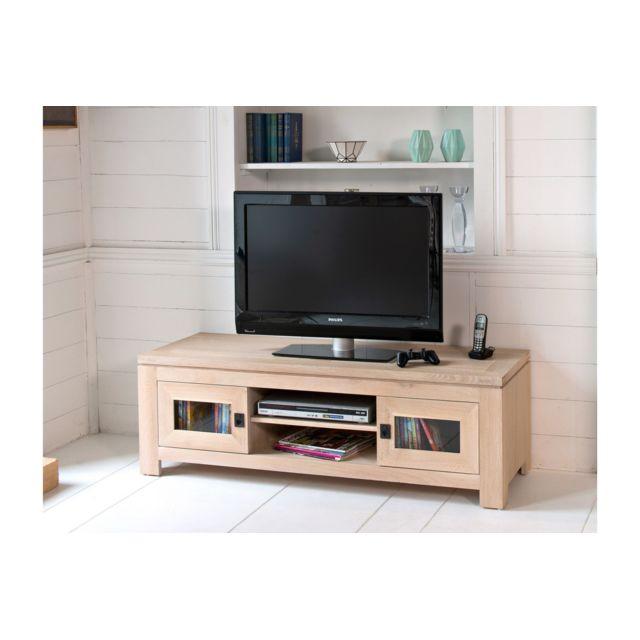 hellin meuble tv bas en ch ne blanchi boston pas cher. Black Bedroom Furniture Sets. Home Design Ideas