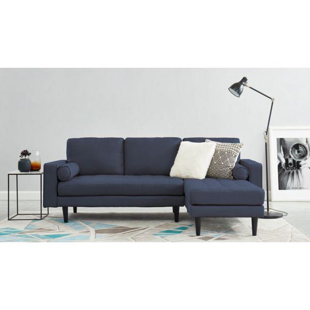 HOMIFAB Canapé d'angle réversible 3 places en tissu bleu cobalt - Collection Charly