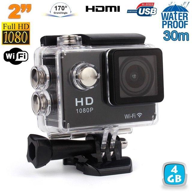 Yonis Caméra sport étanche WiFi 2' Full Hd 1080p time lapse 170° noir 4 Go