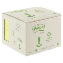 Post-it - Notes repositionnables jaunes recyclées 76 x 76 mm - en tour distributrice - bloc de 100 feuilles - Lot de 6