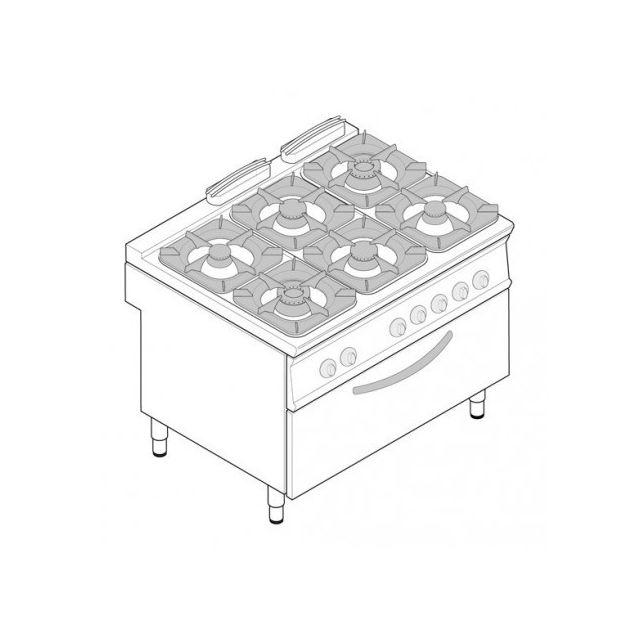 Materiel Chr Pro Fourneau avec four gaz statique extra-large et grill 3 kW 6 feux - gamme 900 - modules 400 - Tecnoinox - 900