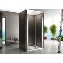 Cadentro - Porte de douche hauteur 195 cm - largeur réglable   verre  transparent 100 à 60972d86f88