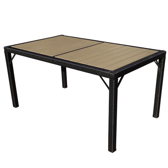 Mendler Table de jardin Ariana polyrotin, Wpc bois composite~anthracite