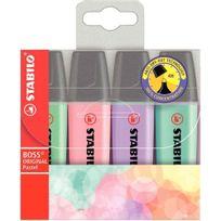Stabilo - surligneur boss coloris pastels assortis - pochette de 4