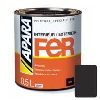Apara - Peinture spéciale Fer Satin-0.5 litre-Noir mat RAL 9011