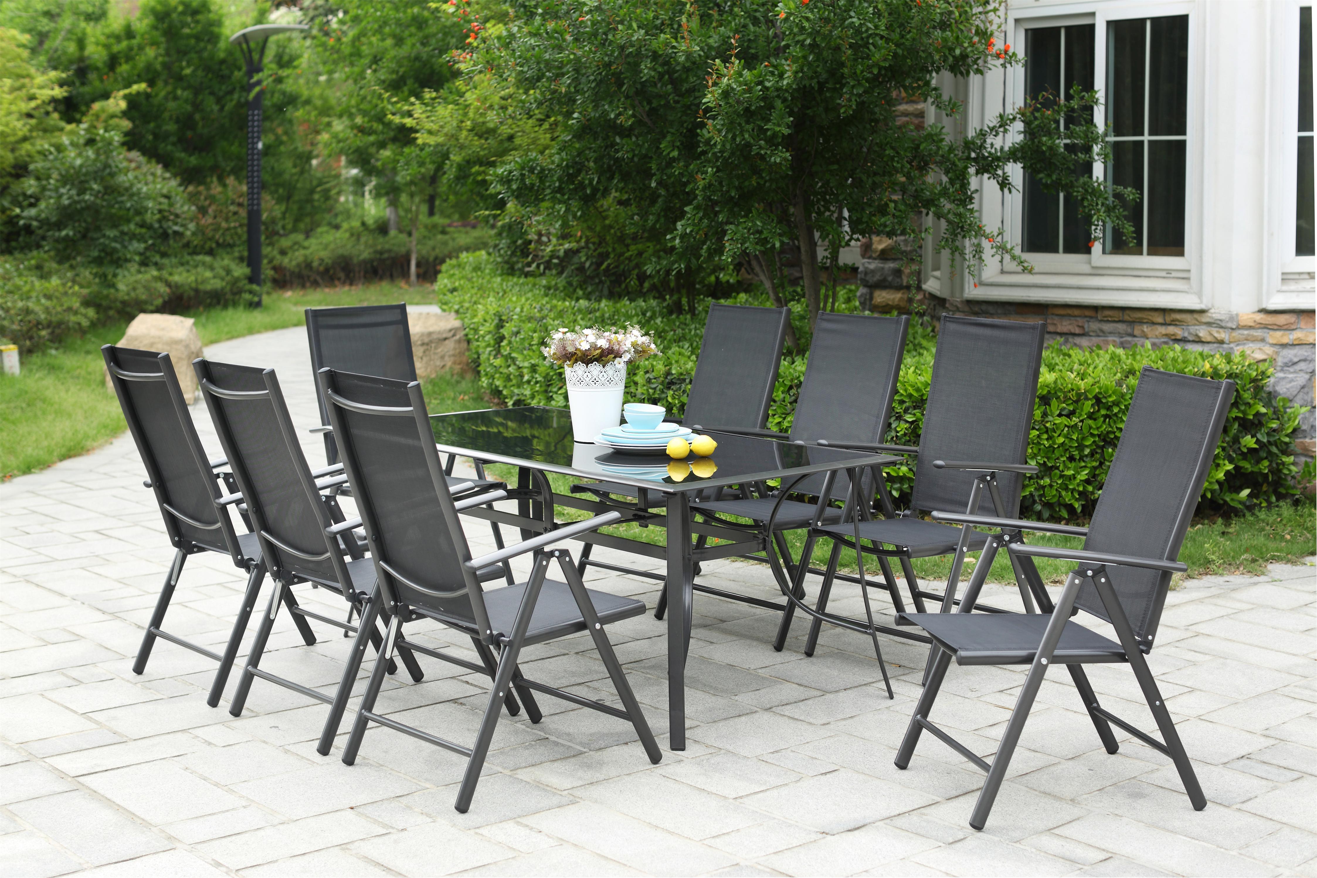 Grand salon de jardin aluminium Rimini 8 chaises pliables top confort en  textilène