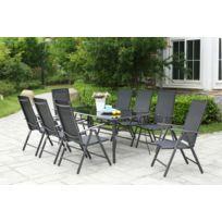 Rimini 8. Grand salon de jardin aluminium 8 chaises pliables top confort en  textilènes