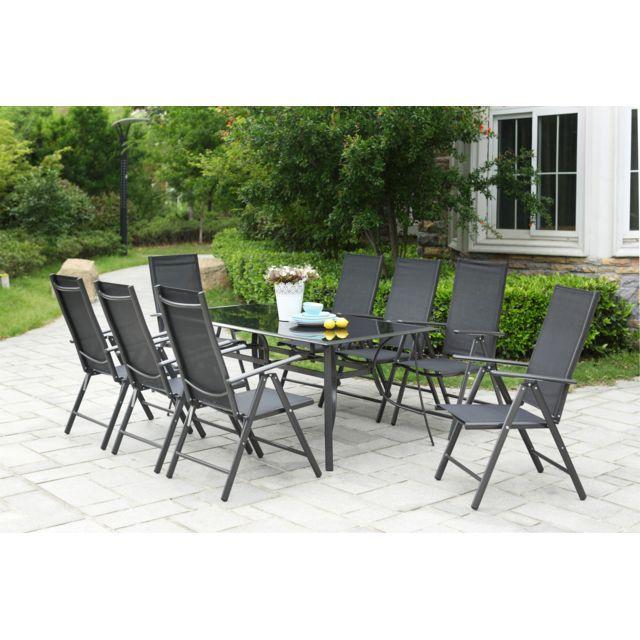 CONCEPT USINE Grand salon de jardin aluminium Rimini 8 chaises pliables top confort en textilène