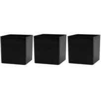 Artevasi - Lot de 3 cache-pot carré noir, cube 14 x 14 x 14 cm en polyéthylène épais résistant aux Uv