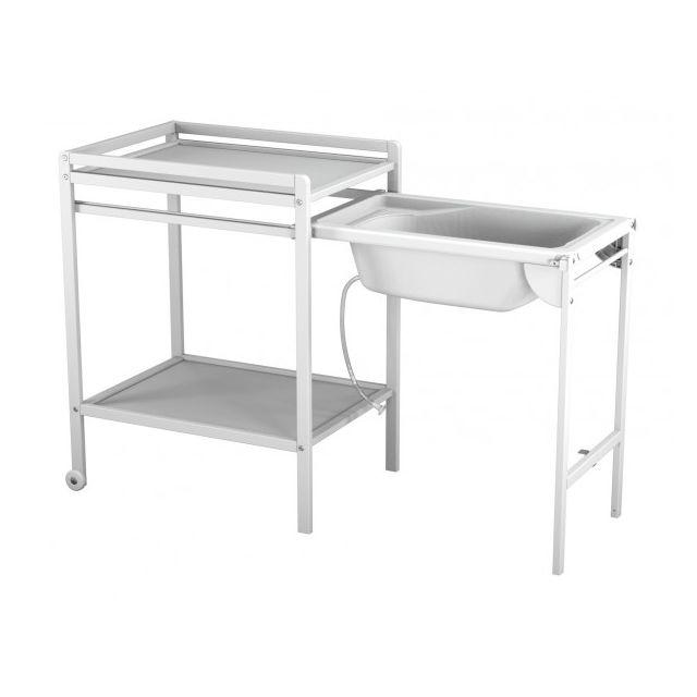Ateliers T4 Table A Langer A Roulettes Avec Baignoire Blanc Pas Cher Achat Vente Table A Langer Rueducommerce