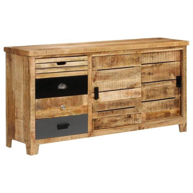 Vidaxl Buffet Bois de Manguier Solide Commode Armoire Rangement Table Appoint