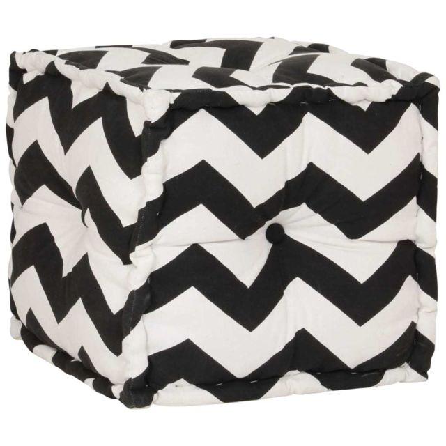 Vidaxl Pouf Cube en coton avec motif 40 x 40 cm Noir et blanc - Meubles - Poufs   Noir   Noir