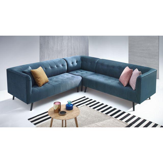 bobochic paris canap d 39 angle panoramique bleu. Black Bedroom Furniture Sets. Home Design Ideas