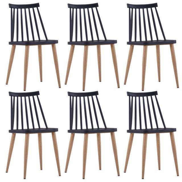 Chaises de salle à manger 6 pcs Noir Plastique et acier