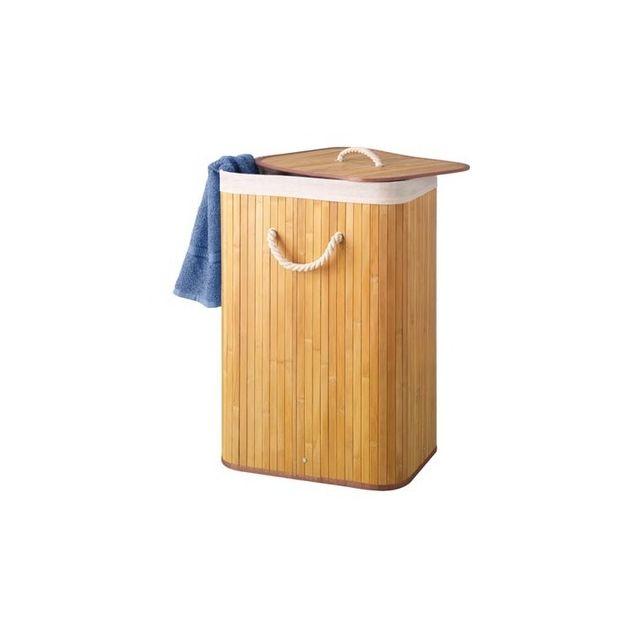 Velleman Panier A Linge Bambou Naturel 72 Litres Pas Cher Achat