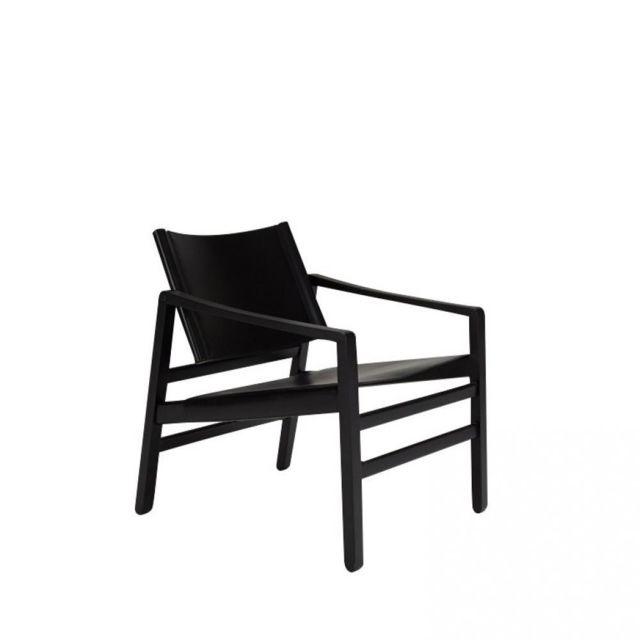 Inside 75 Fauteuil Luk cuir noir structure chêne massif teinté noir