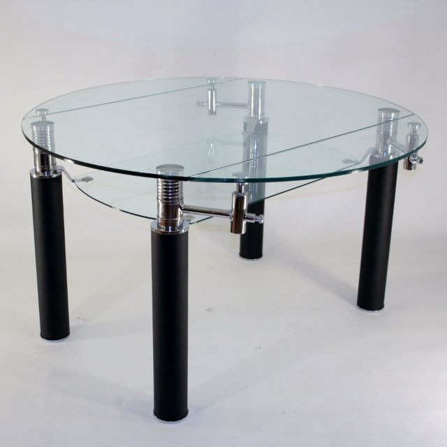 Table Ronde En Verre Extensible.Clearseat Table En Verre Ronde A Rallonge Extensible Nero