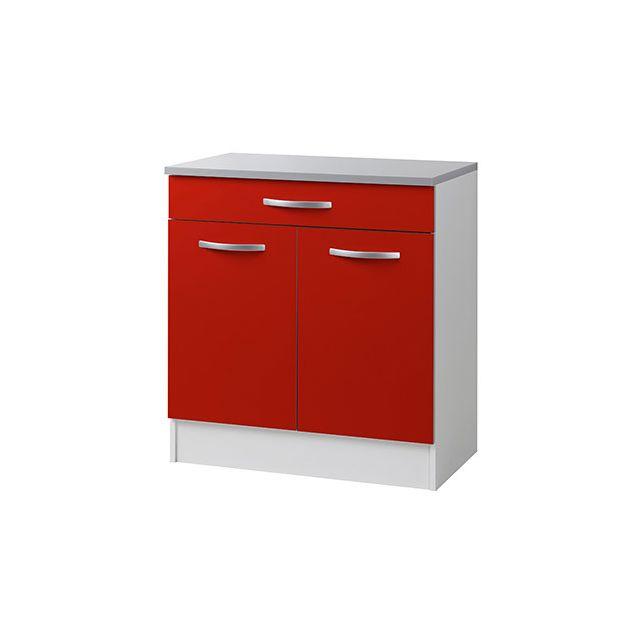 Meuble bas L80xH86xP47cm - rouge