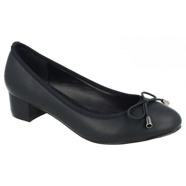 chaussure bleu marine femme talon moyen