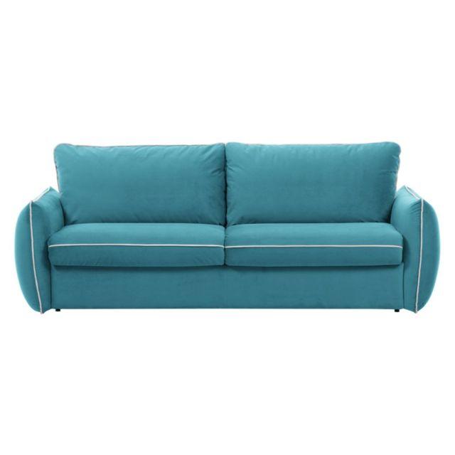 inside 75 canap linus bleu azur convertible ouverture rapido couchage 160 195 13 cm sommier. Black Bedroom Furniture Sets. Home Design Ideas