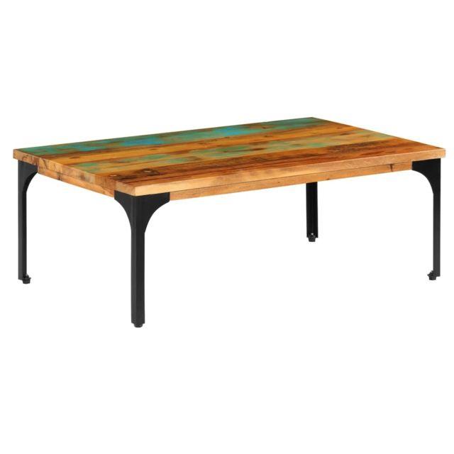 Vidaxl Table Basse Bois de Récupération Massif Table de Canapé Salon Séjour