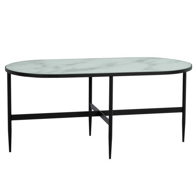 Rendez Vous Deco Table Basse Ovale Alaska En Verre Effet Marbre