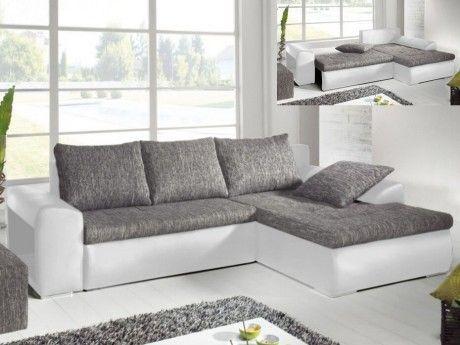 Canapé D Angle Réversible Et Convertible Bimatière Mississippi Gris Blanc