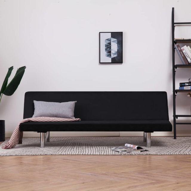 Vidaxl Canapé-lit Noir Polyester