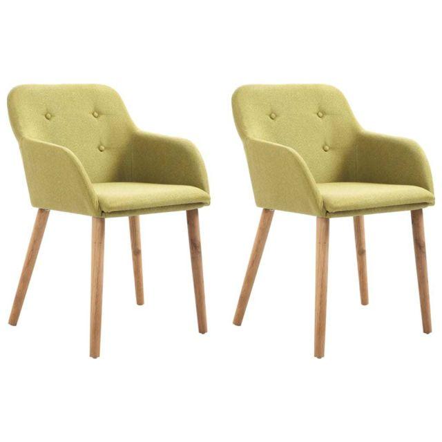 Distingué Fauteuils et chaises collection Ouagadougou 2 pcs Chaises de salle à manger Vert Tissu et chêne massif