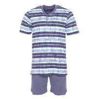 Ringella - Pyjama court : Tee-shirt col tunisien à rayures bleues et blanches, short uni bleu grisé