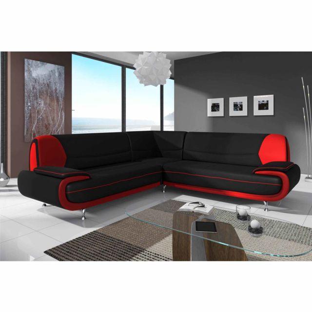 La Chaiserie Canapé d'angle Design Maria Noir et Rouge