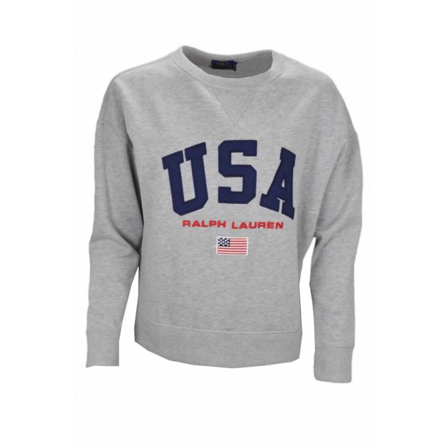 838ee015d46a9 Ralph Lauren - Sweat col rond gris Usa pour femme - pas cher Achat / Vente Sweat  femme - RueDuCommerce